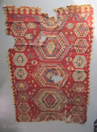 Early Konya/Ladik kilim fragment...before 1800...approx. 5'x 8'(150 x 245cm)