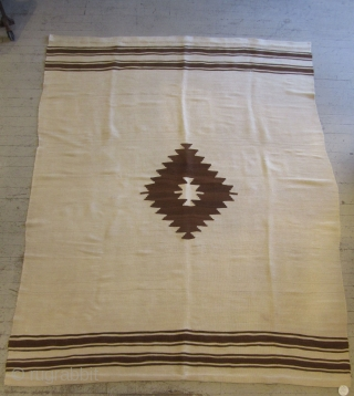 Siirt Blanket.....Southeast Anatolia.....early 20th C. .....Angora goat hair on cotton string warps....excellent condition....unusual white Siirt ..flat on both sides ( not combed-out on one side ) ....5'x 6' ( 150 x 180cm  ...