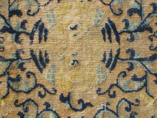 """Chinese.....18th Century...28"""" x 29"""" (71cm x 74cm )....missing one end , with overall low pile .....opposing Phoenixes in center , but they are difficult to see ....condition as shown and priced accordingly.   ..."""