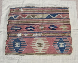 "West ( Kutahya ? ) or Central Anatolian ( Cappadocia ? ) kilim fragment....18th century or earlier.....2'6"" x 3'3"" (75 x 100cm )...salt and pepper warps....with selvedges....condition as found and shown (  ..."