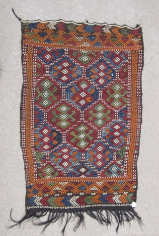 "Central Anatolian cupboard cover( Mut / Taurus Mountains)....probably last Quarter 19th .....2'6"" x 4' (75 x 120cm ) ......goat hair and wool...unused condition...vegetal dyes...."