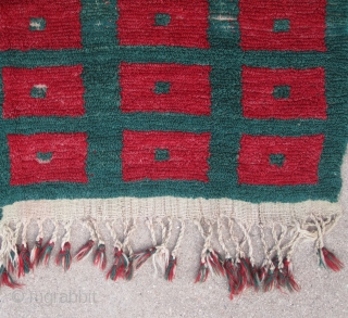 "Central Anatolia...Vintage ( pre-40s) Karapinar Tulu......looped technique, in (2) pieces joined....3'6"" x 5'5""( 107cm x 165 )....aniline dyes..wool and angora goat hair...condition as found and shown."