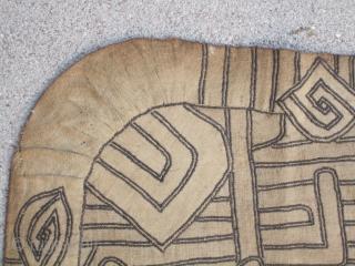"African Skirt Cloth fragment... 34"" x 34"" ( 87cm x 87cm ) Kuba people....D.R.Congo.....Raffia fiber applique Circa 1900"