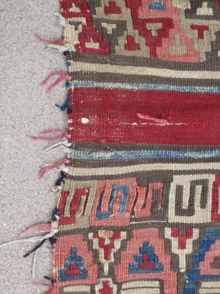 "West Anatolian ( Helvaci ? ) Kilim Fragment.....mid 19th C.....all vegetal dyes....33"" x 36"" (84cm x 92cm )....as found ( cut and with 'prayer tassels' attached )"
