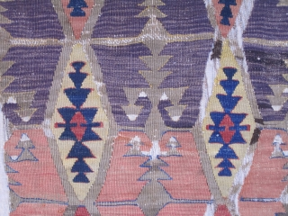 "Central Anatolian Kilim fragment....pre-1850 ( all vegetal dyes).... profess. mounted on linen.....fragment size is  22"" x 56"" (56cm x 142cm )"