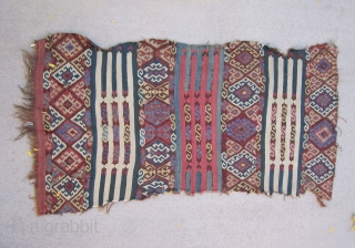 "East Anatolian Kilim fragment....approx. 1/2 of a 1/2....circa 1850....all vegetal dyes....as found....all wool with salt & pepper warps....2'10"" x 5'4"" 