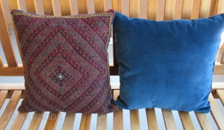 "West Persian ( Bijar ) Kurdish saddlebag Pillows...late 19th....sumack weave...all vegetal dyes...excellent condition....cotton velour backing....13"" x 16"" (33 x 40 cm )"