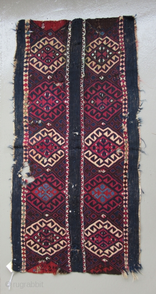 "Kurdish Cuval fragment.....Eastern Anatolia.....c. 1850.....reciprocal brocading and soumack.....wool on wool with silver-wrapped cotton thread.....20"" x 40"" 