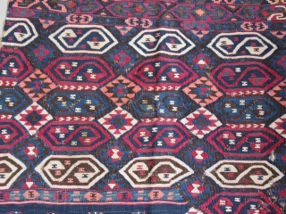 "Lake Van kilim....Northeast Anatolia ( Kurdish ? )....complete 1/2.....late 19th C.....2'6"" x 7'6"" (75 x 220cm )...wool on wool with cotton-wrapped silver thread....natural dyes except faded orange....fine weave with floppy handle......condition as  ..."
