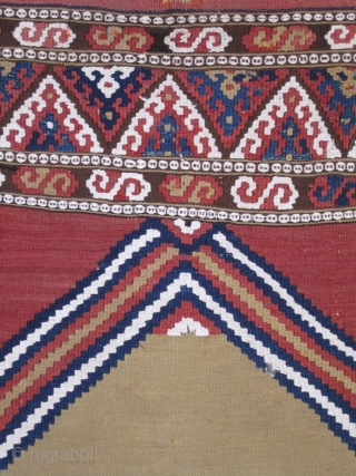 """"""" Manastir Yastik """" most probably Southern Balkans.... circa 1840....wool on wool with cotton highlights....all vegetal dyes...2'2"""" x 3'8""""......  (66 x 112cm).....condition as shown."""