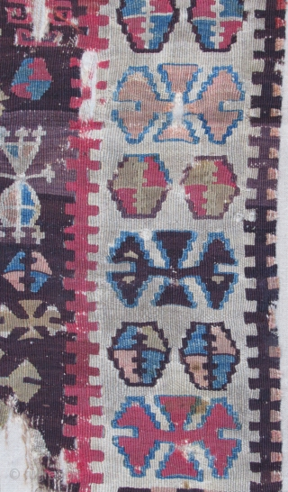 """Prayer Kilim fragment....Central Anatolia ( Yesilova ? )...before 1825....professionally mounted on linen....frag size/ 2'4"""" x 4'2"""" (70cm x 130cm ) excellent patinated vegetal dyes.... condition as shown ."""