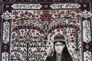 Rare old Bakhtiar master weave, depicting Nour Ali Shah, leader of the Sufi Dervishes of Persian, now under persecution in the Islamic Regime. With poetry 5.6x4.7 (168x140 cm)