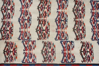 rare Azarbaijan flatweave. With Needle work . condition very good. #53090 part of kilim collection being sold 112x284 cm, 3.8x9.4