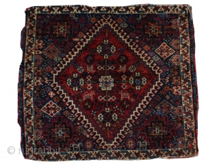 #59632 Antique Ghashghaie with silk highlights 2.4x2.1.  60x70 cm. Good pile. Some TLC needed. Let me know if you need additional photos.