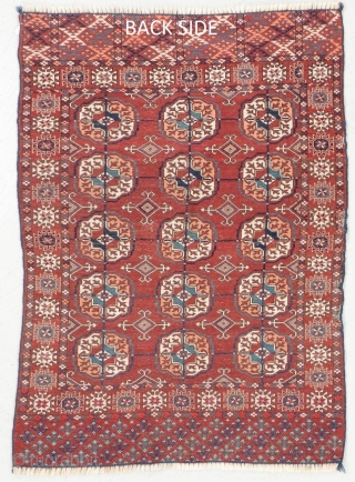 Stunning Tekke wedding rug. Beautiful coppery red and interesting seconday guls. Love the two different patterns on each elem.