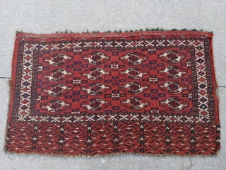 Tiger stripes anyone? Old, well loved, 19th century Yomud chuval with a really beautiful elem design. Something about the quality of the colors, and the glowing orangish madder red, makes me think  ...