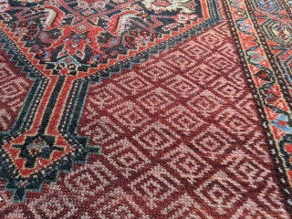 Circa 1900 Serab or Hamadan rug. 6ft 10in x 3ft 2in   Wonderful blues and greens throughout with hints of yellow. Has some end loss (secured) and small amount of wear in middle  ...