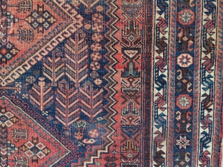 Beautiful early 1900s Afshar. 7ft 2in x 4ft 11 in. Colors don't get much better than this and one of the more attractive border combinations I've seen. Even low to medium pile.  ...