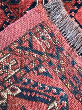 Late 19th century Ersari Beshir torba with blue silk highlights. 4ft 8in x 1ft 4in Mostly full pile with a few medium spots in the top left corner and near the top.  ...