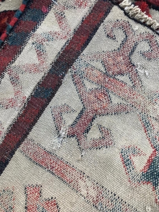 """Antique Yomud Turkmen tent band fragment. 8'3"""" x 1'5"""" or 43 x 250cm. Overall good condition with great pile and good dyes, with a couple small holes. No color bleed and stable  ..."""