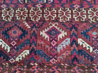 "Beautiful 19th century Tekke Turkmen ensi. 4'8"" x 5'5"" or 165 x 142cm. Striking light blue and the pinkish red is cochineal based on color and it being the only 6ply wool.