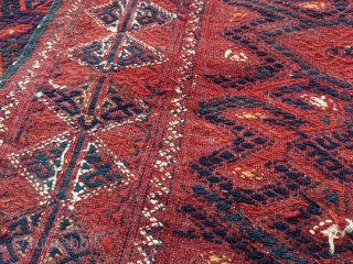 """Stunning merlot red Yomud Turkmen palas kilim. 5'8"""" x 10'8"""". This is one of the older ones, likely circa 1900. These are a tight woven kilim with wool embroidery for the design  ..."""
