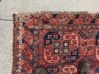 """Antique Ersari main rug from the Amu Darya region. 7ft x 8'5"""" or 214 x 256cm. Great pile on a large percentage of the rug but wear on one end as seen  ..."""