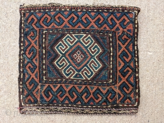 """Gorgeous sumak Antique Baluch bag/ chanteh. 11"""" x 11.5"""" or 28 x 29cm. This is one of more attractive pieces I've owned. I've also heard similar pieces labeled as Chahar Aimaq.  Cheers."""