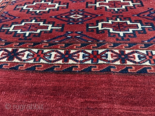 "Antique Yomut chuval / chuwal. 2'5"" x 3'8"". This is full pile with the softest wool and good lustre. Really nice deep. rich red color. Late 19th century to turn of the  ..."