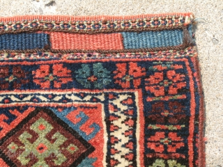"""Jaff Kurd khorjeen / Bag complete with stripped flat woven back. 23 """" X 26"""". Wonderful soft colours.  Other than a puncture in the lower section on the flat woven back, the  ..."""