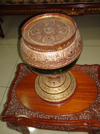 "A 3-piece, early 20thCentury Burmese ""Hsun-oke"" with Glass Bowl (Food Carrier used in collecting Alms). Bamboo Top and Base sections, Lacquered and Gilded with coloured mirror-glass inlay.