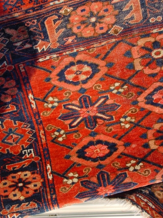 1870 turkoman beshir? large chuwal, with lots of silk knots, some low pile, some wear, see photos closely,, no repairs,
