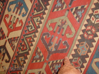 fabulous large sivas kilim part  midth 19th century? or older , wonderful natural colors, very minor repair, no stains, 
