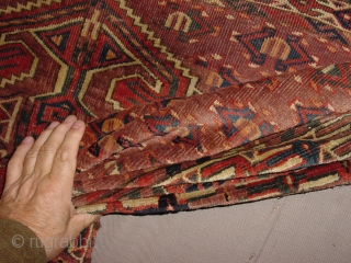 ca 1850 ensi yomud turkoman, with great natural colors, one less than square inch repair, Original selvedges!, some minor foundation and low pile visible, complete headend!, wonderful pattern, selvedge sides at the  ...