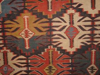 wonderful 1880 ANTIQUE KUBA CAUCASIAN KILIM FLATWEAVE wonderful natural colors, some small tiny damages, no stains, great size 173 x 325cm  5.8x10.8ft