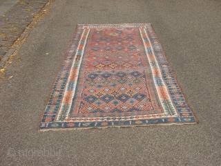 wonderful 1890 antique, main rug with great natural colors, one small, tiny  side repair, some low piule , some corosion, all ends beautifully secured, clean, flat lying, can be used right  ...