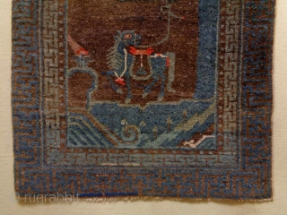 19th Century unusal Chinese Rug Size: 60x115cm Natural colors