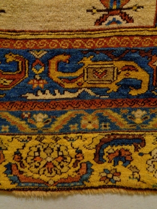 19th Century probably Armenian Sivas Prayer Rug Size: 103x140cm Natural colors, there is an old repair, the edges and the headends are not original