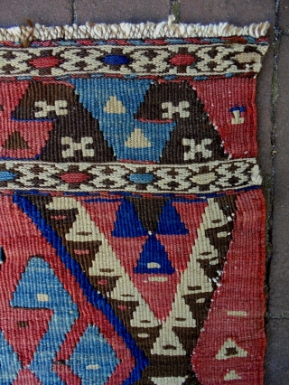 19th Century Caucasian Kelim  Size: 49x43cm Natural colors
