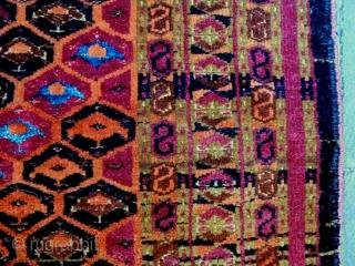 Late 19th Century Penjerelik Sarik Design Size: 130x38cm Natural colors (except the orange color is a little bit faded), the light blue color is silk.