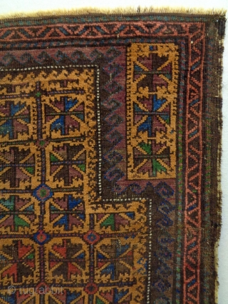 Baluch Prayer Rug Size: 83x104cm Natural colors, made in circa 1910