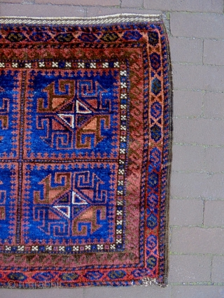 19th Century Baluch Bagface Size: 70x64cm Natural colors, there are moth bites