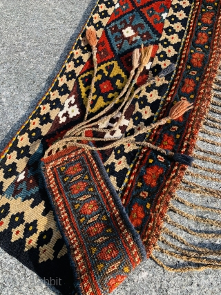Rare antique Bijar kurdish kapunuk 1880 circa all good colors in very good condition with mixed texture the Upper part is Kilm the lower part to knotty.