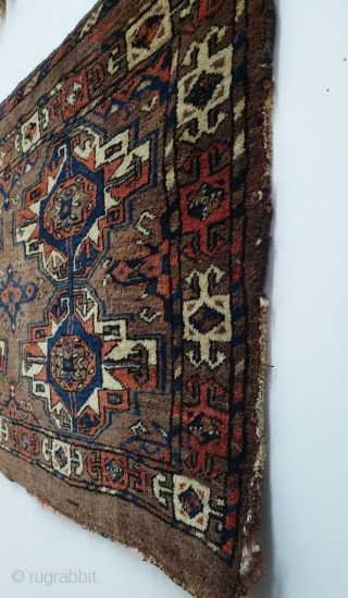 "Large antique Turkmen ""Eagle Gul Group ii"" torba or wedding trapping. Asymmetric knot open right, with cotton in weft. Great wool quality and all natural dyes. Very good condition with only partially  ..."