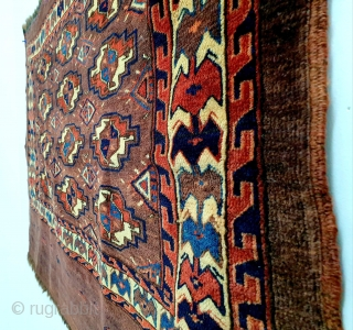 "19th century Turkmen Yomud group ""Igdyr"" 12-gul chuval with bat border and distinctive secondary gul. In great condition. All natural dyes. Measures 105 x 76 cm (ca. 41 x 30 inches). Priced  ..."