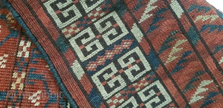 Turkmen Ensi of some unusual design elements. Nice all natural colors.