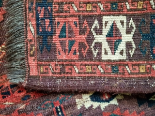 Rare 19th century (1850 or earlier) Turkmen Chodor chuval with early design details including crested bird heads, tails and tiny bird feet in main ertmen gulls. Also early form of separating zigzag  ...