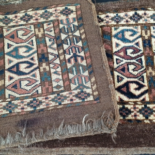 Rare and distinctive Turkmen Chodor torba dated 1877, with wonderful natural dyes and rare design elements, including an ivory field and ram horn trees, Measures 38x92 cm (ca. 15x36 inches). Priced to  ...