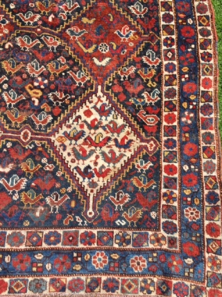 Genuine 19th century Qashqai Khamseh. Lots of chicken. Softest wool and great natural dyes. True tribal rug. In good condition with some old restorations including through some felt pads on the backside  ...