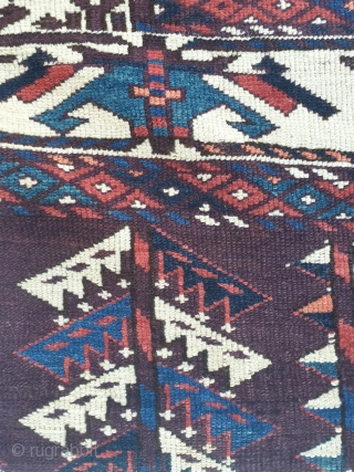 Early Yomud main carpet with rare boat border. 165x270 cm. Excellent condition, only Sides slightly reduced and secured as shown. Very fine weave and great natural dyes.